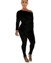Black One-shoulder oblique shoulder wear more jumpsuits