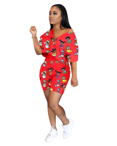 Red Fashion printing casual two-piece suit
