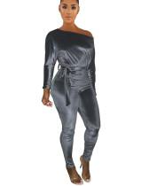 Gray One-shoulder oblique shoulder wear more jumpsuits