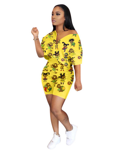 Yellow Fashion printing casual two-piece suit