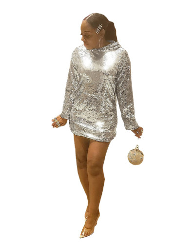 Silver sequins hooded hooded nightclub dress