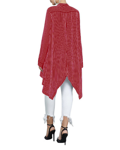 Red Loose stripe stitching women's shirt skirt