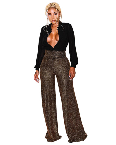 Sexy fashion high stretch gold silk women's single piece pants