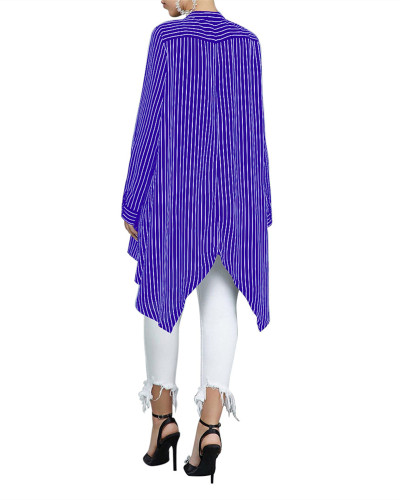 Blue Loose stripe stitching women's shirt skirt