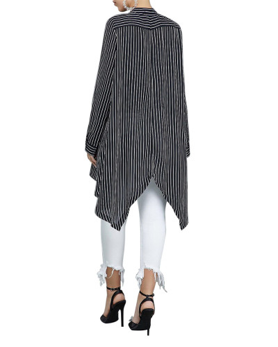 Black Loose stripe stitching women's shirt skirt