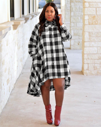 White Check high collar button shirt skirt
