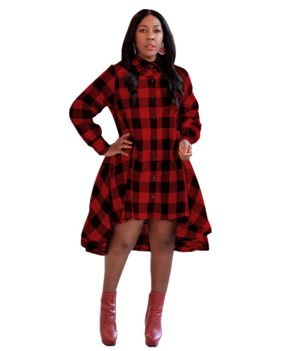 Red Check high collar button shirt skirt