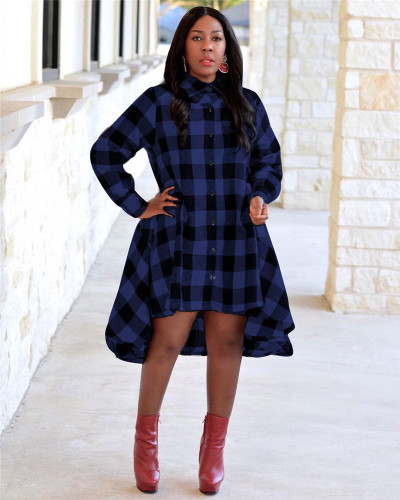 Bule Check high collar button shirt skirt
