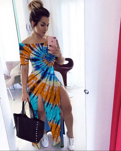 Blue Orange Euro-America Hot Tie Dye One Shoulder Split Skinny Dress