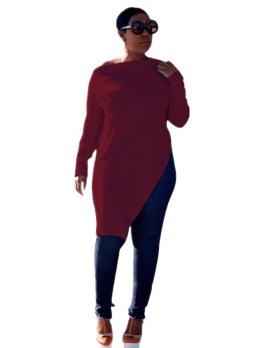 Claret Solid color zipper slit T-shirt