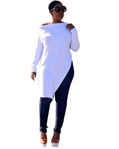 White Solid color zipper slit T-shirt