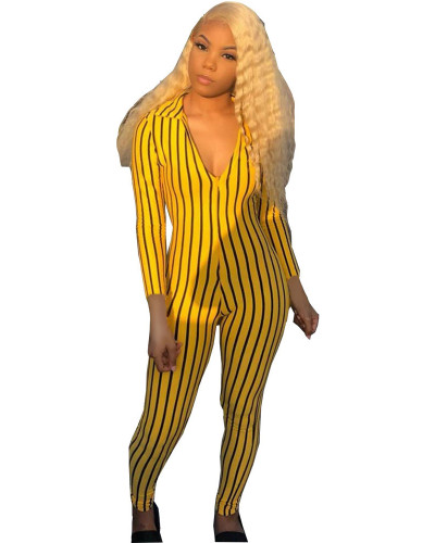 Yellow Striped printed 3/4 sleeve sexy jumpsuit