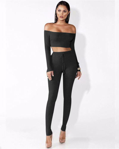 Black One-piece shoulder two-piece set
