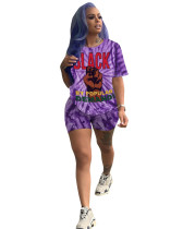 Purple Printed short sleeve shorts sports two-piece suit