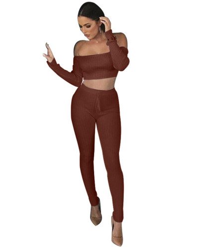 Brown One-piece shoulder two-piece set