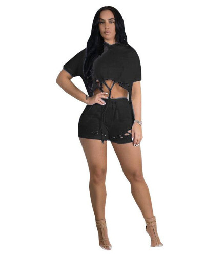 Black Europe and the United States new solid color hole hollow two-piece hood