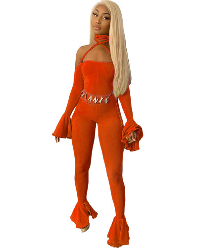 Orange Sexy open-back fungus sleeve jumpsuit