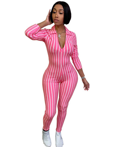 Pink Striped printed 3/4 sleeve sexy jumpsuit