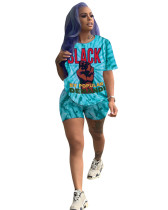 Blue Printed short sleeve shorts sports two-piece suit