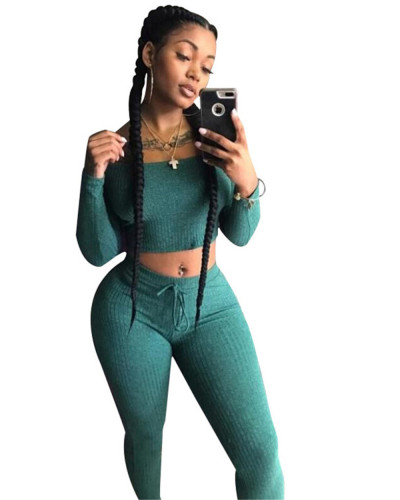 Green One-piece shoulder two-piece set