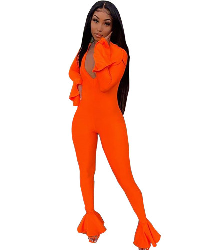 Orange Cute sexy lotus sleeve jumpsuit