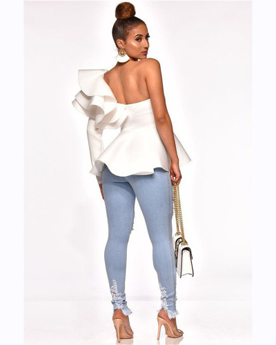 White One-line slim fit ruffle top