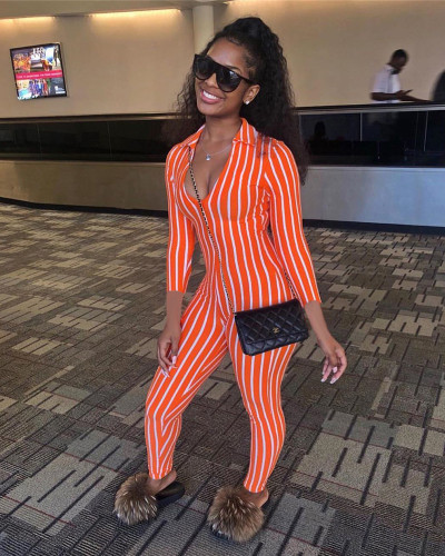 Orange Striped printed 3/4 sleeve sexy jumpsuit