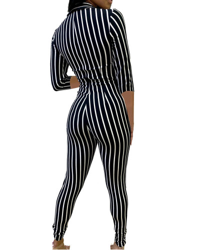 Black Striped printed 3/4 sleeve sexy jumpsuit