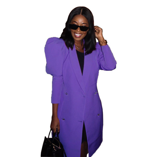 Lantern sleeve suit loose long coat