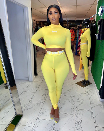 Yellow Shaped tight-fitting letter print suit