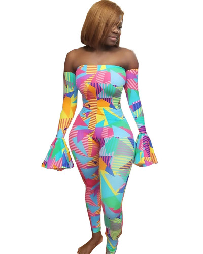 Color Sexy lotus sleeve jumpsuit