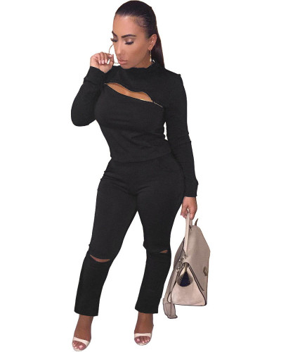 Black INS fashion city zipper hole two piece set