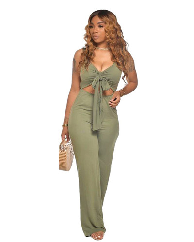 Green Casual solid color sleeveless activity strapless open-body wide-leg pants