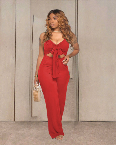 Red Casual solid color sleeveless activity strapless open-body wide-leg pants