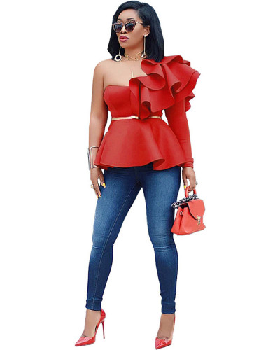 Red One-line slim fit ruffle top