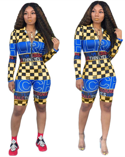 Blue  2020 fashion letter print racing fashion jumpsuit