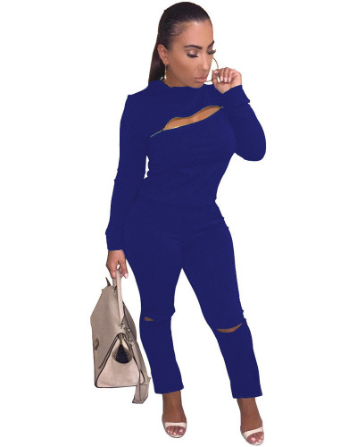 Blue INS fashion city zipper hole two piece set