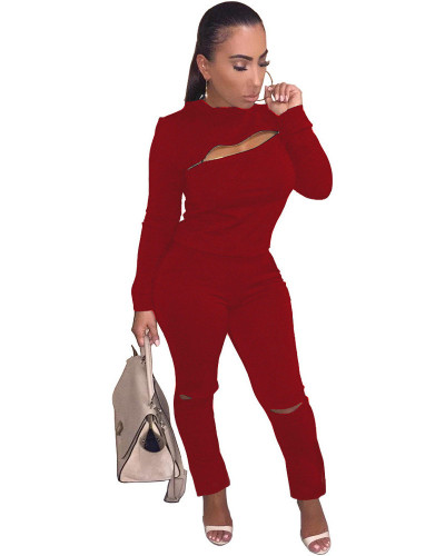 Red INS fashion city zipper hole two piece set