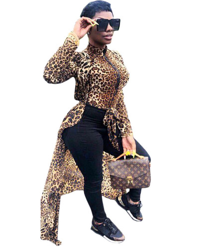fashion pull-on leopard print front and back long two-piece suit top