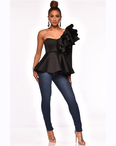 Black One-line slim fit ruffle top