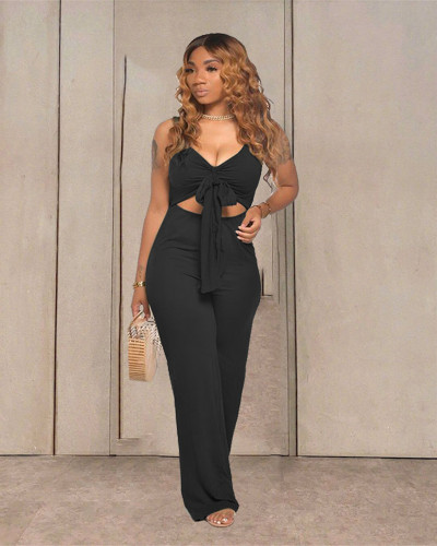 Black Casual solid color sleeveless activity strapless open-body wide-leg pants