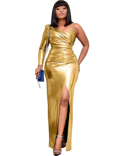 Golden distinguished senior sexy fashion one-shoulder irregular dress evening dress