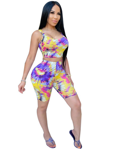 Yellow Tie-dye printed leisure sports suit