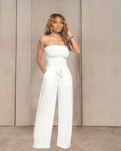 White Casual flat shoulder wrap chest wide leg jumpsuit