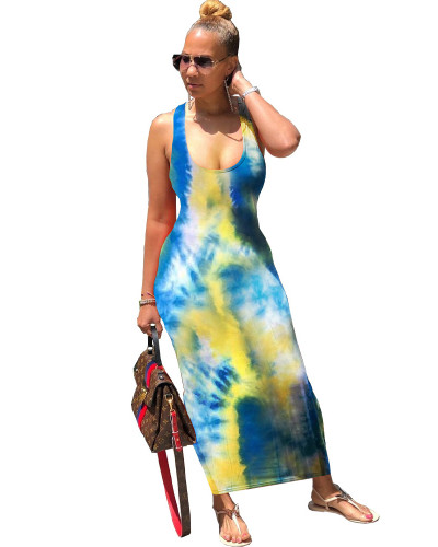 Yellow Tie-dye back strap dress