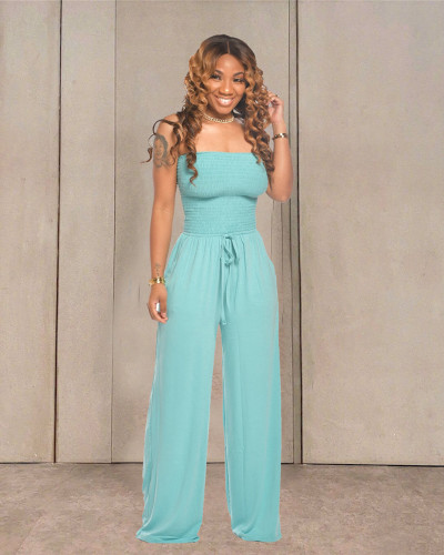 Blue Casual flat shoulder wrap chest wide leg jumpsuit