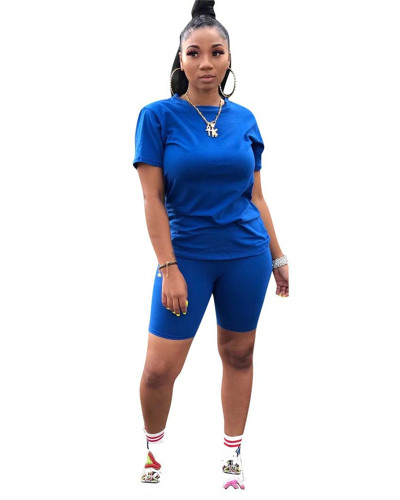 Blue Casual sports plain two-piece suit