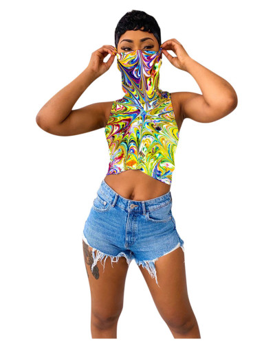 Paint T-shirt with printed vest and mask