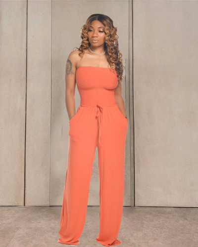 Orange Casual flat shoulder wrap chest wide leg jumpsuit