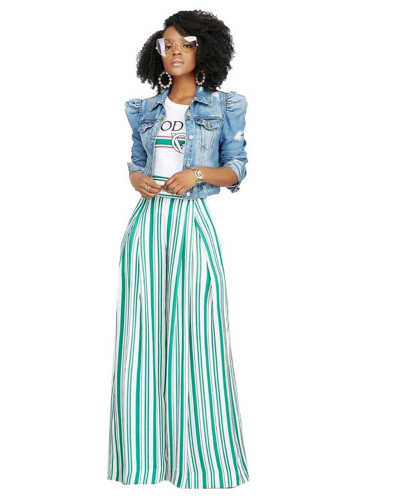 Fruit green printed striped urban fashion wide-leg pants